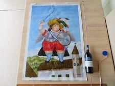 Vtg Fernando Botero repro paint oil on canvas signed pop art deco mid century