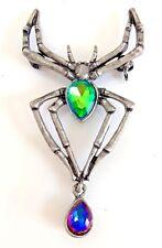 Canto místico Topacio Diamante Araña Broche Verde Azul Amarillo Púrpura Turquesa Pin