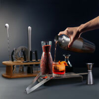 17 pcs Bartender Kit Cocktail Shaker Set Stainless Tools with Bamboo Stand