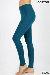 Womens Soft Stretch Cotton High Waisted Leggings Long Workout Yoga Pant Fitness