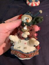 Boyds Folkstone Peace on Earth Christmas Snowman Ornament 25655 Retired Musical