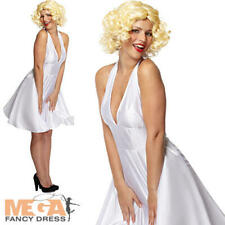 Sexy White Marilyn Monroe Fancy Dress Ladies Celebrity Film Star Adults Costume