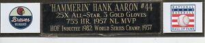 Hank Aaron Engraved nameplate.