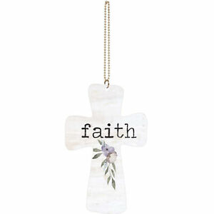 Faith Cross Floral Cream 4 x 3 Wood Decorative Hanging Car Charm Ornament