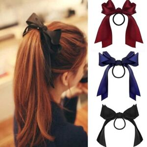 BowKnot Elastic Hair Bands Accessories Fashion Long Ribbon Bow Ponytail Hair Tie