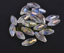 10pcs 19x8mm Oval Rugby Faceted Crystal Glass Loose Findings Beads Clear AB