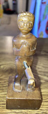 """Vintage Hand Carved Wood Figure with oversized. 4-1/2"""" T Super Rare"""