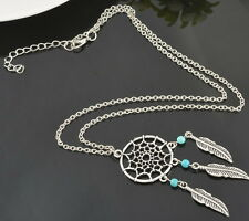 """Dream catcher Necklace Pendant Turquoise Link cable Chain silver tone 20"""" N60"""