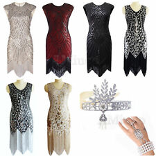 1920's Flapper Gatsby Sequin Beads Fringe Dresses 20s Fancy Party Cocktail Dress