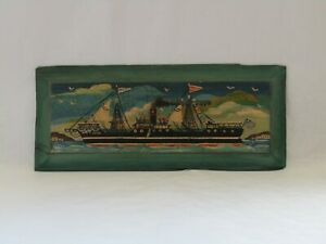 old ship painting on wood, folk painting, Greek painting