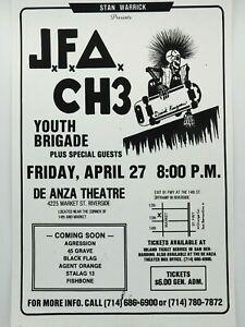 J.F.A. CH3 YOUTH BRIGADE THE DE ANZA THEATRE RIVERSIDE SKATE PUNK CONCERT POSTER