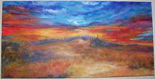 L Cahill Bootlegger's Barn Acrylic Painting Sunrise Vintage Truck Silo Mountain