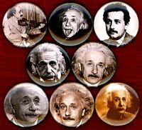 "Albert Einstein 8 NEW 1"" buttons pins badge E=MC2 genius"