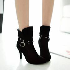 Ladies Pointy Toe Cross Buckle Strap Pull On Stiletto Heels Ankle Boots Shoes