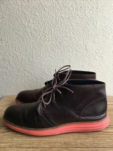 Cole Haan Lunargrand Mens Chukka Boots Brown Leather with Orange Sole Size 9M