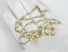 Pearl Necklace FW Cult White Pearls 14k gold filled 24 Inch Chain Space Link 4mm