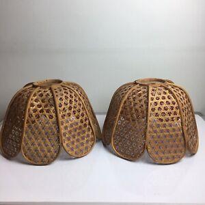 Matching Pair Of Vintage Wicker Cane Light Shades Petal Shape - Rattan