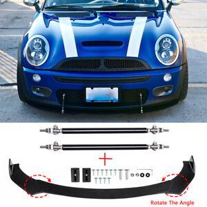 Front Bumper Lip Spoiler Splitter + Strut Rods For Mini Cooper S R53 R55 R56 F56