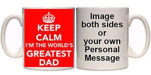 KEEP CALM WORLD'S GREATEST DAD MUG & COASTER (R4) 11-15oz FATHERS DAY GIFT