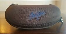 MAUI JIM BROWN CLAMSHELL HARD ZIPPERED GLASS CASE WITH CLIP  EUC