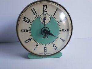 Rite Canada Teal Alarm Clock Metal Vintage
