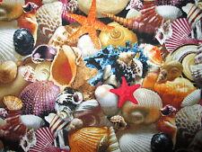 SEA SHELLS BEACH SHELL STAR FISH COTTON FABRIC FQ