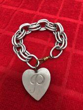 Vintage Aluminum Chain Link/Mongramed Heart Bracelet