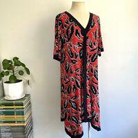 Virtuelle Size S 18 AU Dress Red Black V-Neck Bold Handkerchief Hem Plus Size