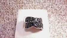 Swiss Marcasite Black Oxidized Stainless Steel Buckle Ring (Size 8) TGW 0.60