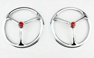 "7"" Headlight Headlamp Bulbs Chrome Trim Ring Covers Lucas Tri Bar Red Dot Pair"