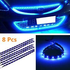 8X Flexible 12V Blue 15-LED SMD Waterproof Car Grille Decor Lights Strip Parts S
