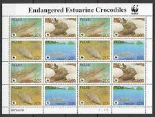 PK022 1994 PALAU WWF FAUNA REPTILES ENDANGERED ESTUARINE CROCODILES 1SH MNH