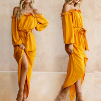Women Slash Neck Off The Shoulder Ruffles Tunic Long Sleeve Loose Casual DressO