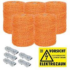 5000m Weidezaunlitze  + Verbinder und Warnschild gelb-orange 3x0,20 Niro