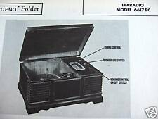 LEARADIO 6617PC PHONOGRAPH - RADIO COMBO PHOTOFACT