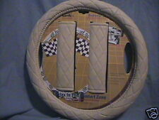 NEW IVORY / OFF WHITE / CREAM QUILTED STEERING WHEEL COVER & 2 SEAT BELT COVERS
