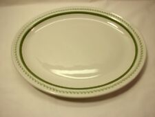 "Mayer China 13 3/8"" Olivene Oval Serving Platter White with Green Band/Florals"