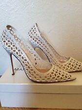 Manolo Blahnik White Laser Cut High Heel Court Shoes. Size 39.5