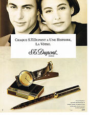 PUBLICITE ADVERTISING 064  1990  DUPONT collection montre stylo briquet