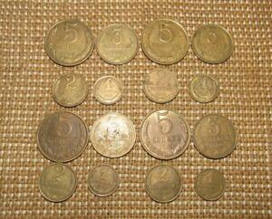 Soviet 16pcs.coins 1 - 2 - 3 - 5 Kopeks 1988 & 1989 & 1990 & 1991 USSR-CCCP Rare