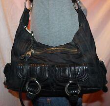 BANANA REPUBLIC Black Medium Canvas Leather Shoulder Hobo Tote Slouch Purse Bag