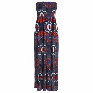 Women's Floral Print Strapless Bandeau Maxi Dress RRP £32