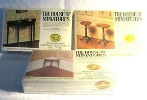 3 DOLL HOUSE OF MINIATURES HEPPLEWHITE KITS, SIDE & CORNER TABLES, CANDLESTANDS