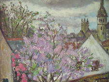 "GEORGES ROCHER (1927-1984) ""LE PRINTEMPS DU VILLAGE"" OIL ON LINEN FRAMED CA 1970"