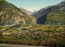 Valais. Sierre et le Rothorn.  PZ vintage photochromie, photochrom photochromi