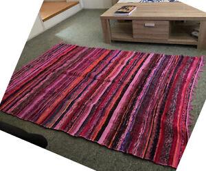 Chindi Rag Rug Fabrics Runner Handmade Striped Mat Fair Trade Loom 100% Recycled