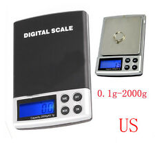 Small Mini Digital Pocket Scale 2000g x 0.1g Weight Jewelry Gold Silver Coin OZ