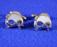 Vintage Cuff Links Fish Mother of Pearl Gold Tone Excellent Condition