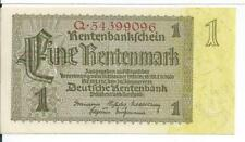 1937 German Rentenmark 1 Eine Mark Note Deutsche Berlin 30 Januar 1937