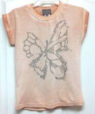 Creamie Girls Size 12 Cuffed Short Sleeve Top w/Butterfly